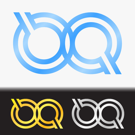 Initial letter QQ premium blue metallic rotated lowercase logo template in white background, and custom preview in gold and silver color