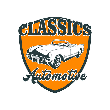 Classic muscle car emblems, high quality retro badge and vintage icon. Design elements for service car repair, restoration and car club - stock vector Illusztráció