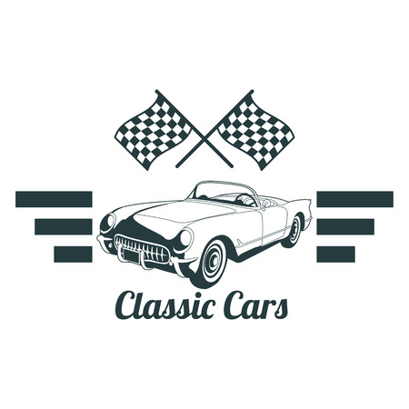 Classic muscle car emblems, high quality retro badge and vintage icon. Design elements for service car repair, restoration and car club - stock vector Illusztráció