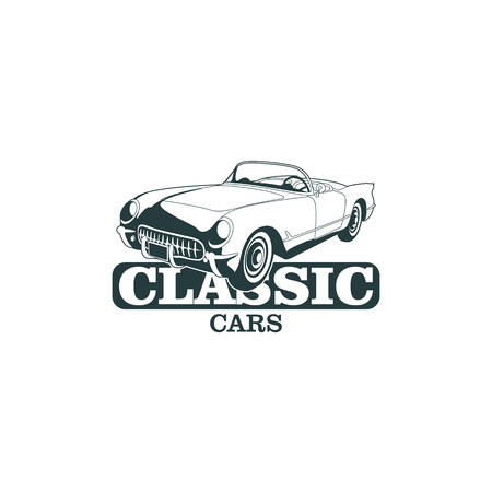 Classic muscle car emblems, high quality retro badge and vintage icon. Design elements for service car repair, restoration and car club - stock vector Illustration