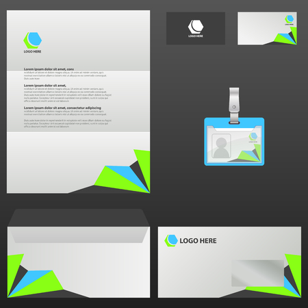 corporate stationery template design illustration on black