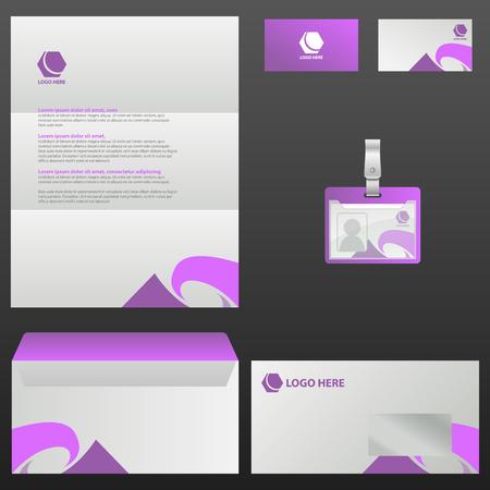 Corporate stationery template design illustration on black background. Çizim
