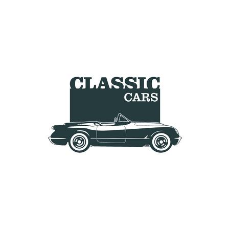 Emblèmes de muscle muscle classiques, badge rétro de haute qualité et icône vintage. Eléments de conception pour la réparation de voitures de service, la restauration et le club de voiture - vecteur de stock Banque d'images - 82999947