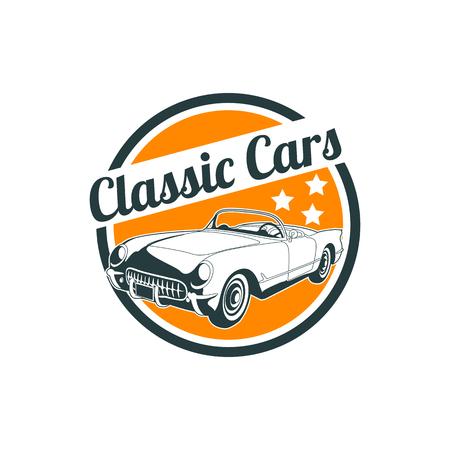 Classic muscle car emblems, high quality retro badge and vintage icon. Design elements for service car repair, restoration and car club - stock vector Ilustração
