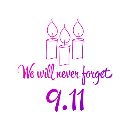 Patriot day, simple memorial design vector illustration 11 september. USA accident, world trade centre, we will never forget. Hand draw style, simple doodle.