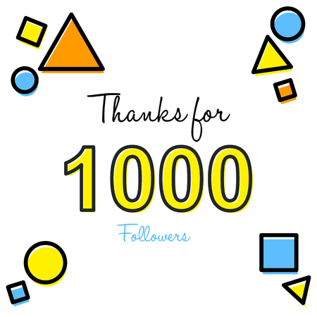 Thanks for 1,000 followers inscription with different geometrical shapes design. Reklamní fotografie - 92604678