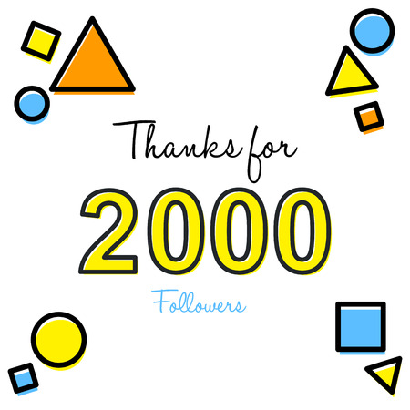Thank you greeting card for social media followers vector illustration Vettoriali