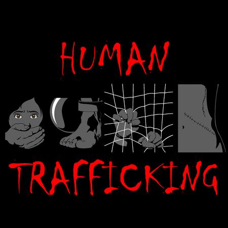 Human Trafficking Awareness Day, four type illustration of human trafficking in vector.