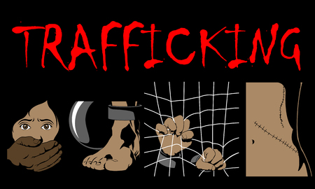 Human Trafficking Awareness Day, four type illustration of human trafficking in vector.