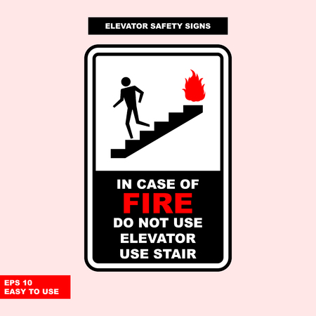 Elevator sign in vector style version, easy to use and print