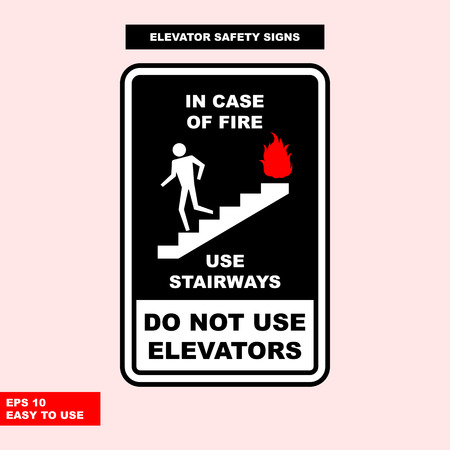 Elevator sign in vector style version, easy to use and print Archivio Fotografico - 101093135