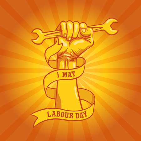 Happy world Labour Day in 1st may vector background. Labour Day simbolism concept hand with wrenches. International Workers day illustration for greeting card, poster design Archivio Fotografico - 100684923