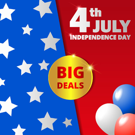 Happy USA independence day big deals poster vector illustration Ilustrace