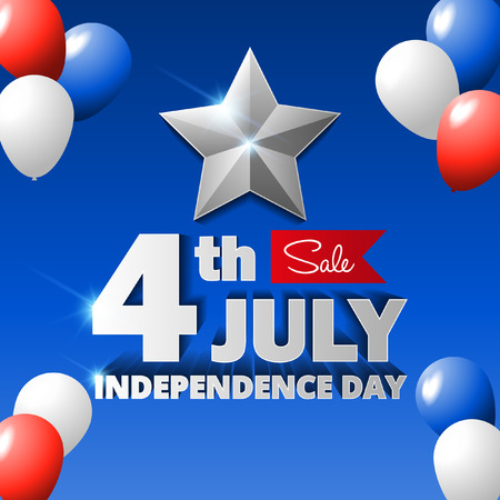 4th of July sale poster vector illustration