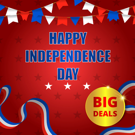 Happy usa independence day, 4th of july. Design for greeting and sale promotion banner template illustration with text. Easy to use for social media marketing.