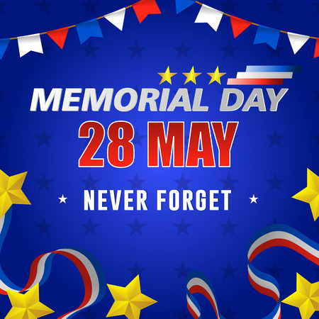 Happy usa memorial day, 28 of may. Design for greeting and sale promotion banner template illustration Archivio Fotografico - 101141969