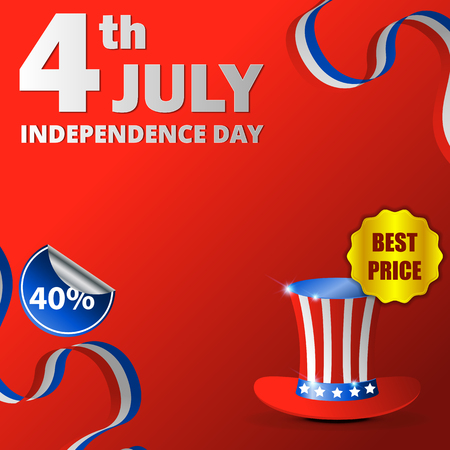 Happy usa independence day, 4th of july. Design for greeting and sale promotion banner template illustration with text. Easy to use for social media marketing. Archivio Fotografico - 101116934