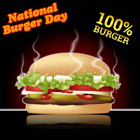 National burger day vector illustration for greeting card, poster and banner Archivio Fotografico - 102286640