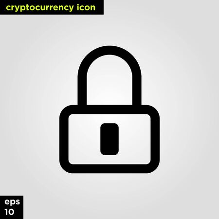 Cryptocurrency icon lock set line version. Modern computer network technology sign and symbol