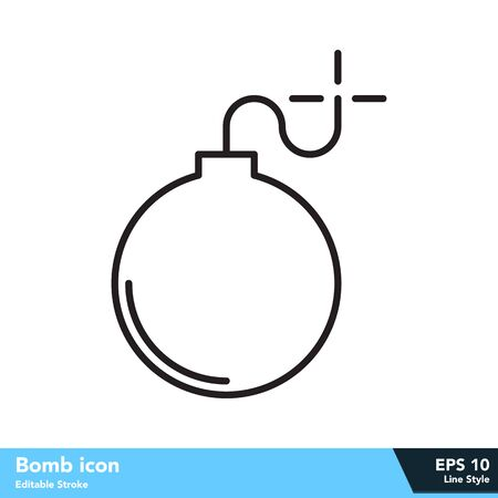 Bomb icon in line style, with editable stroke Vettoriali