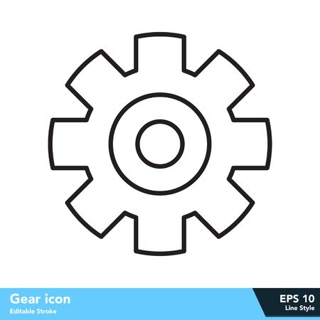 Gear icon in line style, with editable stroke