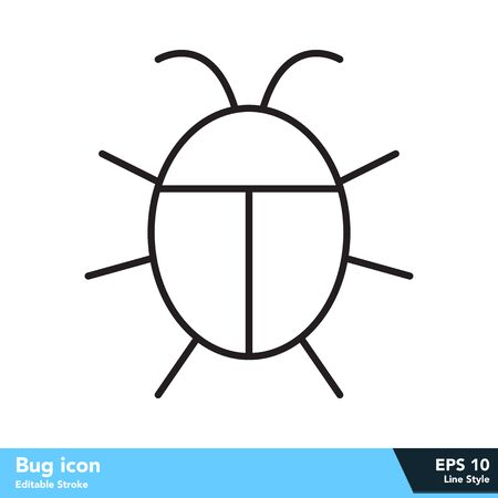 Bug icon in line style, with editable stroke eps 10