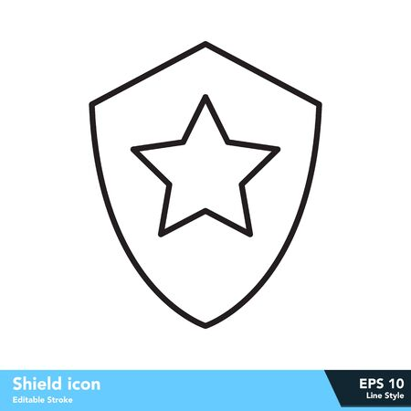 Shield icon in line style, with editable stroke eps 10