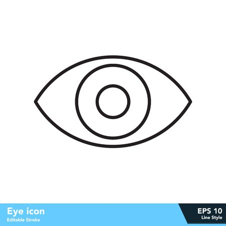 Eye icon in line style, with editable stroke