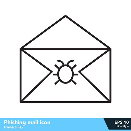 Phishing mail icon in line style, with editable stroke