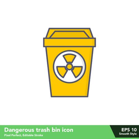 Dangerous trash bin icon in smooth style, with pixel perfect and editable stroke Vettoriali