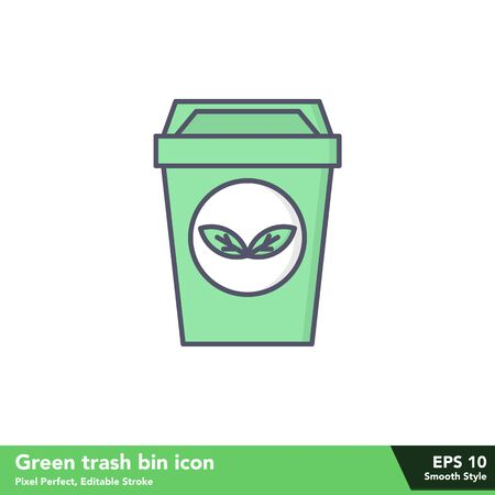 Green trash bin icon in smooth style, with pixel perfect and editable stroke eps 10