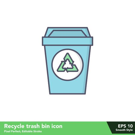 Recycle trash bin icon in smooth style, with pixel perfect and editable stroke
