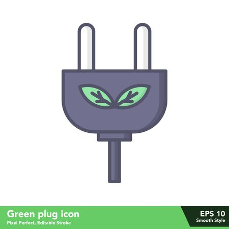 Green plug icon in smooth style, with pixel perfect and editable stroke eps 10