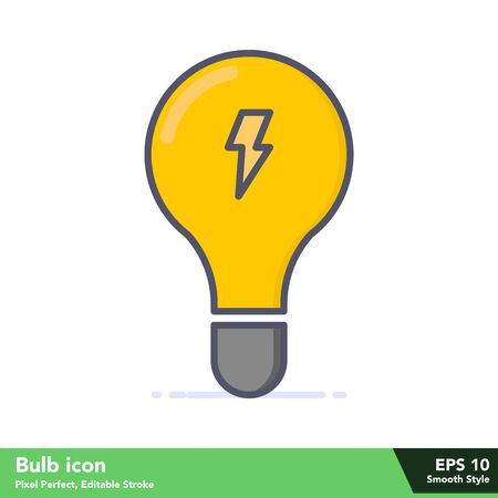 Bulb icon in smooth style, with pixel perfect and editable stroke eps 10