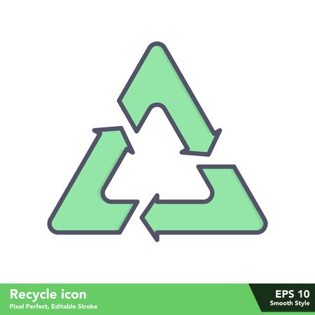 Recycle icon in smooth style, with pixel perfect and editable stroke eps 10