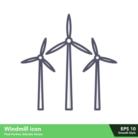Windmill icon in smooth style, with pixel perfect and editable stroke eps 10