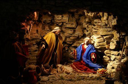 three men: Jesus Chist baby with Maria and David