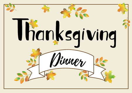 Happy Thanksgiving Dinner hand lettering as a decoration 向量圖像