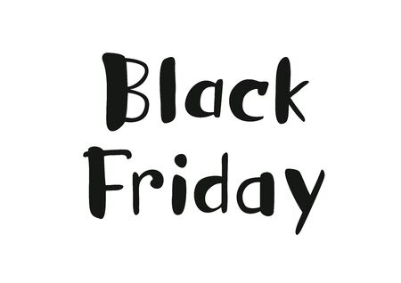 Hand drawn lettering of Black Friday isolated on a white background. Иллюстрация