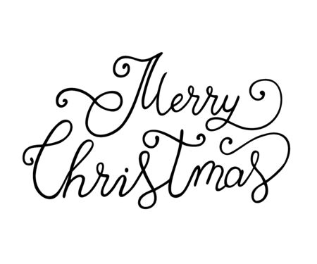 Brush calligraphy lettering of Merry Christmas hand writing isolated on white background for poster, banner, postcard, sticker Ilustracja