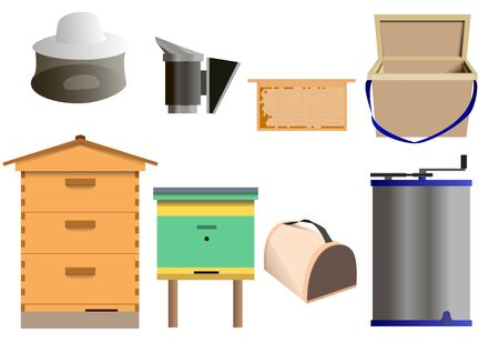 Set of beekeeping equipment vector illustration