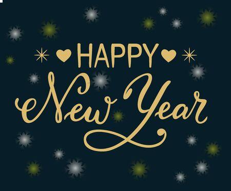 배너, 포스터에 흰색과 노란색 눈송이와 어두운 배경에 장식 요소로 눈송이와 마음 황금 글자와 행복 한 새 해의 손으로 그려진 된 브러시 달 필 레터