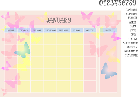 Monthly planner on a butterflies background and names of months with numerals