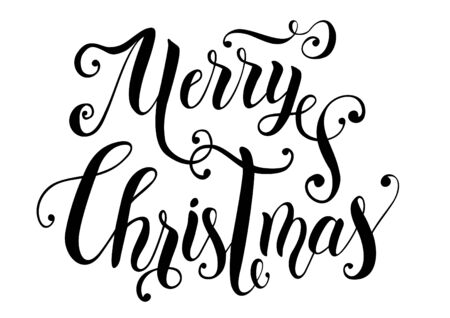 Handwritten decorative modern brush calligraphy of Merry Christmas with greens card, poster or sticker Çizim