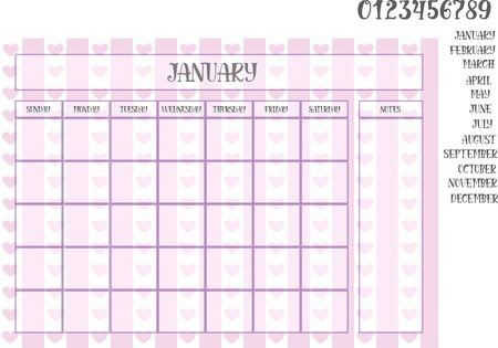 Monthly planner on a violet striped background with hearts