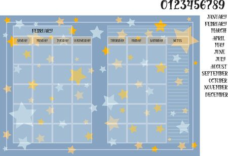 Monthly planner book size on a blue background with stars