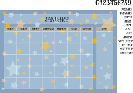 Monthly planner on a blue background with stars