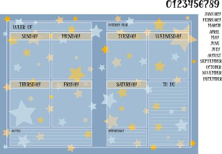 Weekly planner book size on a blue background with stars and names of months with numerals