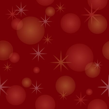Seamless pattern with gradient yellow, white and pink stars and snowflakes on red background