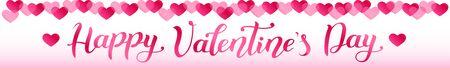 ハッピーバレンタインデーの手書きの近代的な書道の文字とリボンのためのバナーや装飾。  イラスト・ベクター素材